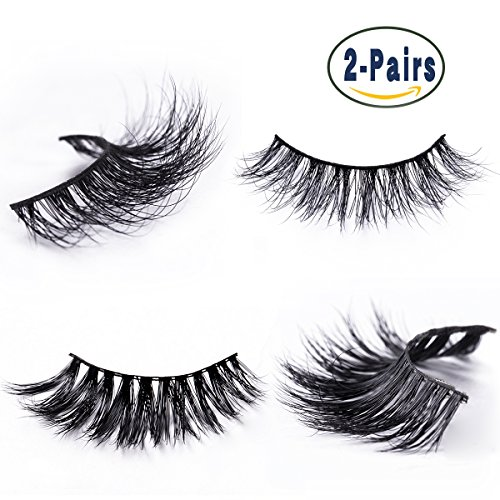 Mink Fur False Eyelashes Pack of 2,100% Mink Hair Fake Eyelash in 3D Natural Lashes and Long Lash Style for Makeup with Pink Tweezer Applicator