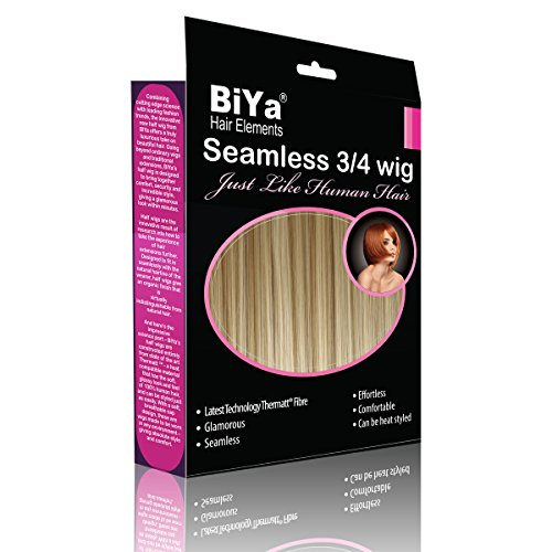BiYa Hair Elements 3/4 clip in de helft pruik haarextensies bob stijl, Light Golden Blonde nr. 24