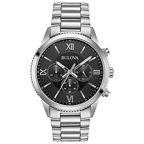 Bulova Men's Classic Quartz Chronograph Gray Dial Stainless Steel 42mm Watch (Model: 96A212)