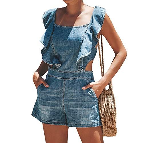 El Verano de Las Mujeres con Volantes Halter Cordones Mono con Bolsillos Retro Azul Playa Caliente Pantalones Cortos Verano Correa de Hombro Desgaste del Estudiante