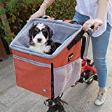 RAYMACE Dog Bike Basket Bag with Reflective Stripe Multipurpose Pet Carrier for...