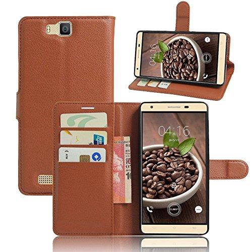 Tasche für Cubot H2 Hülle, Ycloud PU Ledertasche Flip Cover Wallet Case Handyhülle mit Stand Function Credit Card Slots Bookstyle Purse Design braun
