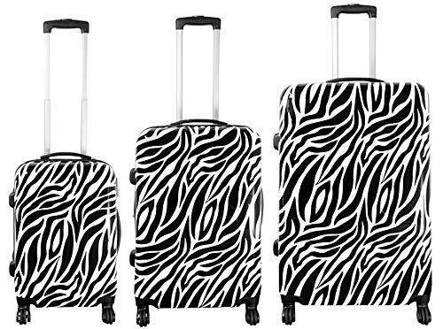 Monopol Kofferset 3tlg Zebra weiß Größen: 77cm / 67cm / 57cm, Außenmaterial 100% Polycarbonat (933936096)