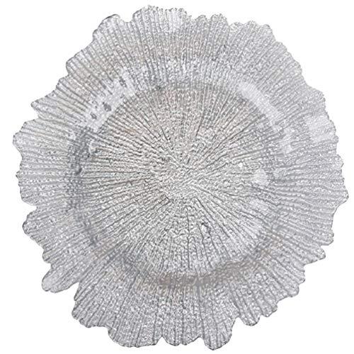 Hemoton Glas Runde Dessert Teller Geschirr Tablett Platte Schneeflocke Geformt Schmuck Geschirrhalter Obsttablett für Dessert Kuchen Cafe Wohnkultur
