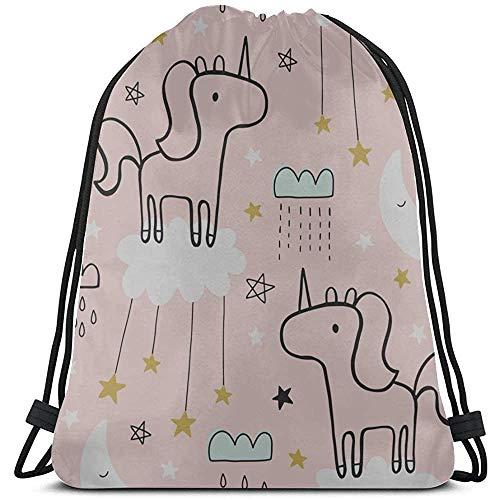 Bouia Cartoon Wild Animal Horse met koordsluiting, make-uptas voor polyester, jeugd, gymzak, trekkoord, rugzak, gymtas voor gymnastiek, reizen