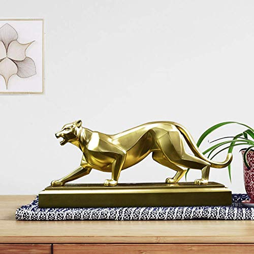 Statue Stunning Garden Ornament Sculpture Wild Animal Leopard Statue Decorations, Cheetah Resin Sculptures, Living Room, Study, Office Decorations Symbolizing Luck, Safety and Protection 18 * 37 * 13c
