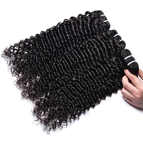 MSGEM Brazilian Curly Hair 3 Bundles lot Unprocessed Human Hair Extensions Brazilian Virgin Hair Deep Curly Weave 1B (14 16 18inch)