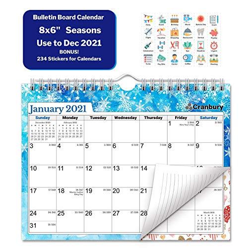"CRANBURY Small Wall Calendar 2021 - (Seasons), Cute 8 x 6"" 2021 Mini Wall Calendar, Non-Glossy Paper, Spiral Bound with Hanging Hook, Bulletin Board Calandar, Fun Planner Stickers Included"