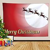 Beydodo Tapiz Colgante Pared,Ciervos y Luna Merry Christmas Rojo Blanco Tapices de Pared Poliester Tapices Nordicos 300X260CM