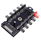 Fancasee 4-Pin PWM Fan Power Supply Cable 1 to 10 Splitter 10 Way Hub 15 Pin SATA Powered PC Case Internal Motherboard Fan Power Extension Cable Cord for ATX Computer Case 4-Pin and 3-Pin Cooling Fans