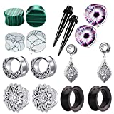 8 Pairs Surgical Steel Dangle Gauges For Women Ear Tunnels And Plugs Earring Silicone Nature Stone Piercing Stretcher kit (6mm=2g)