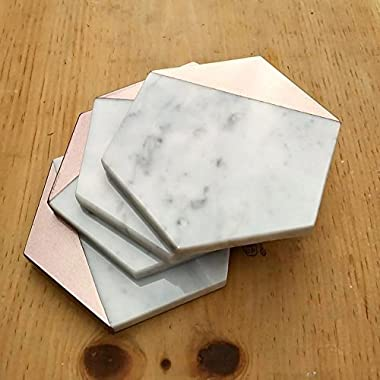 Rose Gold Marble Hexagon Drink Coasters for Housewarming Gift Home Decor - Set of 4