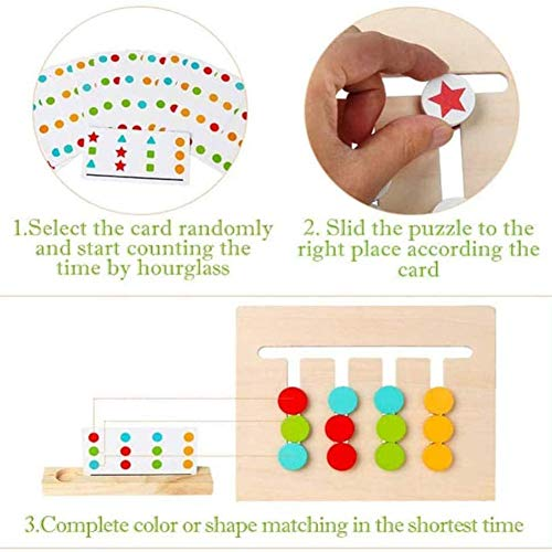 4 Color Puzzle Game Toy, 2-Zijdig Sliding Logica Puzzel Voor Kinderen Kids Educational Intelligence Game Toy