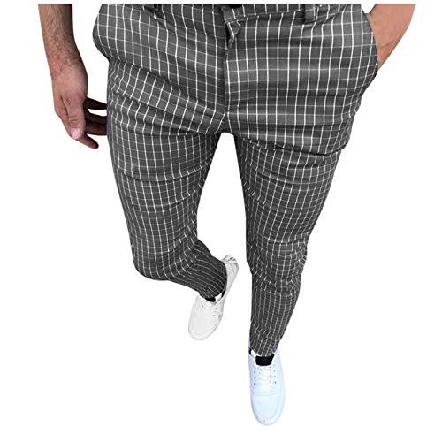 Mode Männer Chino Herren Slim Fit Chinohose Plaiddruck Lange Hose Stoffhose Herrenhose Stretch Neu Business Hosen