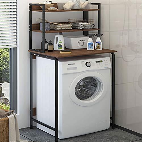 Waschmaschine Regal 3-lagiger Waschmaschinenständer, bodenstehender Trommelwaschmaschinenständer, schmiedeeisernes Bad/Bad/Waschküche/Waschmaschinenständer (Color : Black)