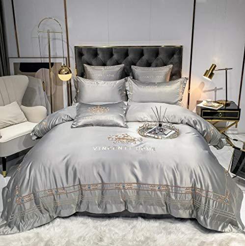 DUIPENGFEI Luxury European Style Quilt Cover Four-Piece Cotton Full Set, Pure Color Simple, Duvet Cover, Grey, King Size Duvet Cover