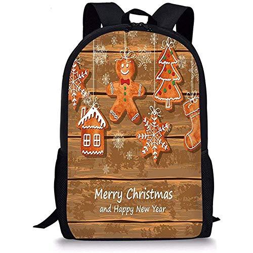 Mei-shop Schultaschen-Lebkuchen ManFunny-Aquarell-Plätzchen auf köstlichen Weihnachtsgebäck DecorativeBrown Orange White der hölzernen Bretter