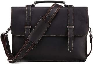 Men Laptop Bag Genuine Leather Computer Office Shoulder Bag Men's Bag Handbag Crazy Horse Leather Briefcase (Color : Black, Size : 15 inches)