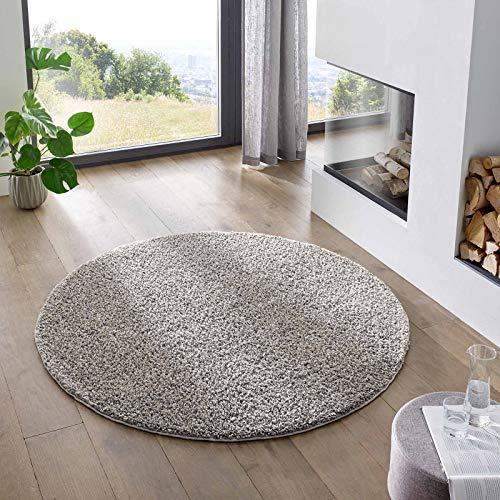 Teppich Wölkchen Shaggy-Teppich | Flauschiger Hochflor für Wohnzimmer, Kinderzimmer oder Flur Läufer | Einfarbig, Schadstoffgeprüft, Allergikergeeignet I Grau - 120 cm rund