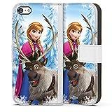 Étui Compatible avec Apple iPhone 5s Étui Folio Étui magnétique Disney La Reine des Neiges Anna & Sven Cadeaux pour Supporters