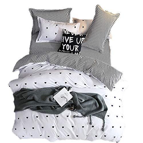 Sticker superb Bettbezug Set Romantisch Süss Herz Blau/Schwarz/Weiß, Mikrofaser Polyester Bettwäsche Set mit Kissenbezug (Weiß, 135x200cm)