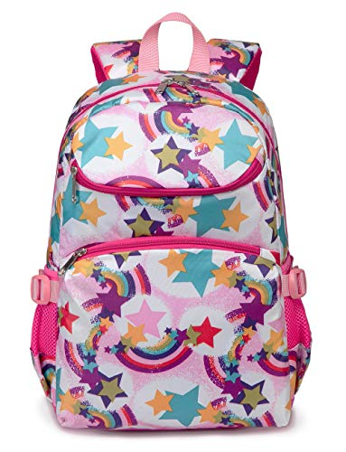 Cute Kids School Backpacks for Girls Kindergarten Elementary School Bags Girly Bookbags for Children (Rainbow Pink)