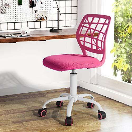 Fanilife - Sedia da ufficio, per scrivania, con design regolabile, sedia da computer e studio per bambini, girevole, senza braccioli, verde rosa