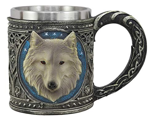 Ebros Gift Alpha Direwolf Wolf Celtic Tribal Magic Resin 16oz Drinking Mug With Stainless Steel Rim Figurine For Coffee Tea Cereal Drinks Halloween Kitchen Dining Decor Of Timber Wolves