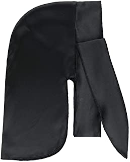 LilySilk Pure 100 Silk Durag for Men Black Extra Long Tail Wide Straps for 360,540 and 720 Waves