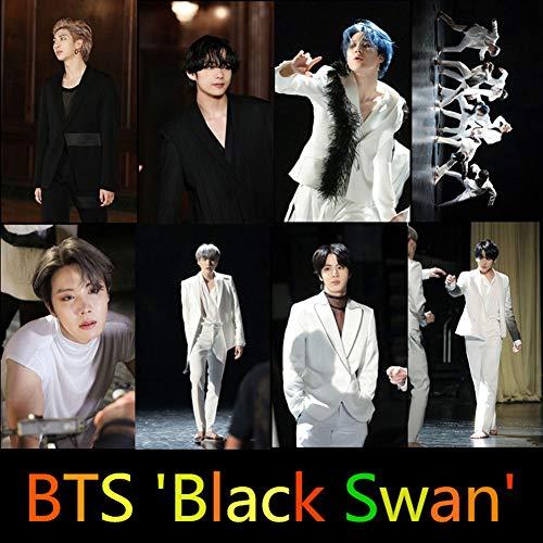 Zhenzhiao Kpop BTS Karte der Seele 7 Fotokarten-Aufkleber Set für Laptop, MacBook, Skateboard Black Swan Card H01