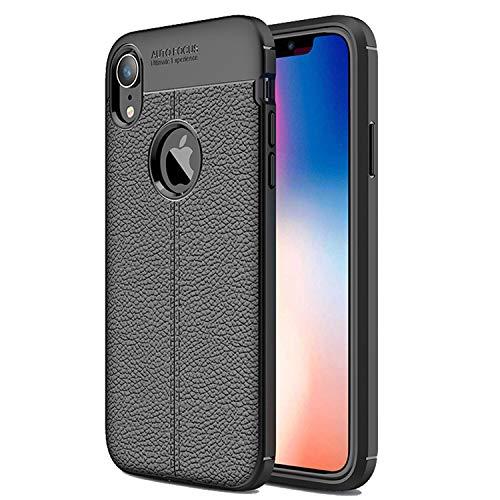 NEW'C Cover per iPhone XR, Custodia Prottetiva con Assorbimento di Urti ed Effetto Pelle [Gel Flex Silicone]