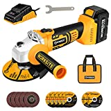 Cordless Angle Grinder, 4-Pole Motor, 4-1/2 Inch Cordless Grinder w/4.0A Battery & Fast Charger, 3-Position Adjustable Auxiliary Handle, Electric Brake, Cutting Wheels, Grinding Wheels and Flap Discs