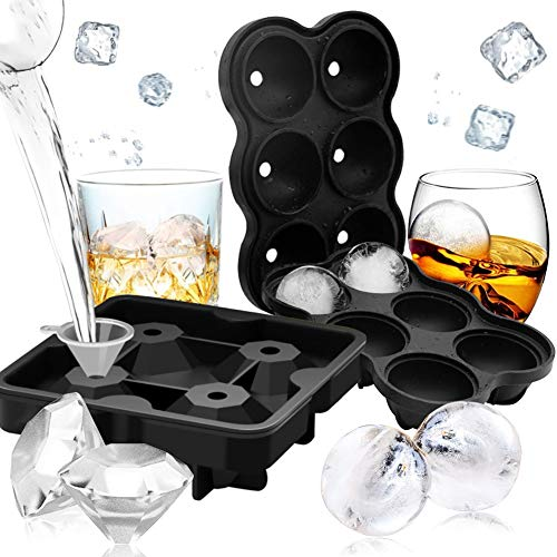Silicone Ice Cube Molds, 2PCS Ice Cube Trays Silicone Combo Mold, Round Ice Ball Maker Diamond Ice Maker