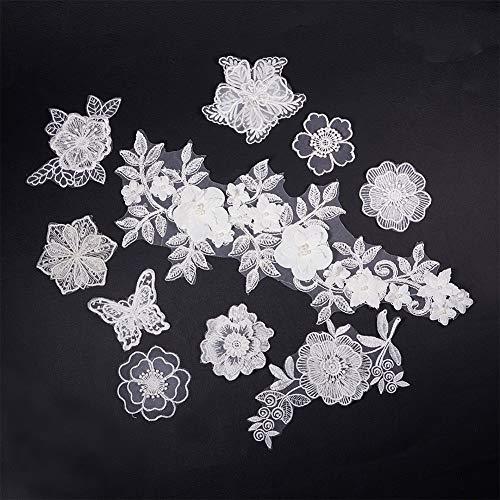 NBEADS 10 Stücke Weiß Spitze Applique Brautkleid Blume Stoff Spitze Stickerei Nähen Auf Flecken