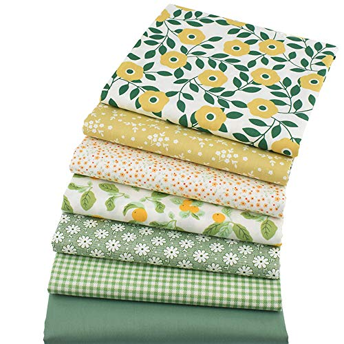 7 piezas de tela de acolchado de color verde de 46 cm x 56 cm, tela de costura de algodón con estampado floral para confección de colchas
