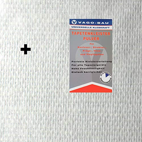 4x 25m2 glasvezelbehang glasvezelweefsel dubbele ketting 110 g / m2 + lijm