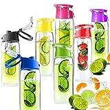 BANGBANGSHOP - Botella de agua con infusor de frutas y tapa abatible, color amarillo