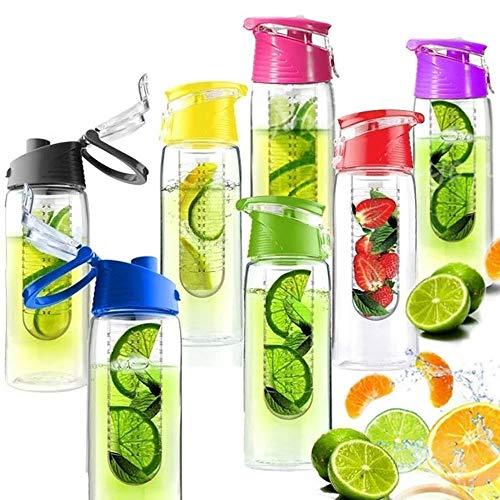 Julymall - Borraccia per infusione di frutta, con infusore per frutta e coperchio ribaltabile, 800 ml, colore: Verde