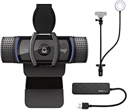 Logitech C920S Pro HD Webcam Bundle with Knox Gear Webcam Stand with Selfie Ring Light and 4-Port USB Hub (3 Items)