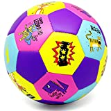 PP PICADOR Kids Soccer Ball Size 3 Colorful Cartoon Animals Balls Toy Gift with Pump for Kids Toddler 4-8 Girls, Boys, Student, Children(Pink&Purple)