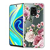 Eouine for Xiaomi Redmi Note 9 Pro Case, Phone Case Transparent Clear with Pattern Ultra Slim Shockproof Soft Gel TPU Silicone Skin for Xiaomi Redmi Note 9 Pro/Redmi Note 9S (Pink Flower)