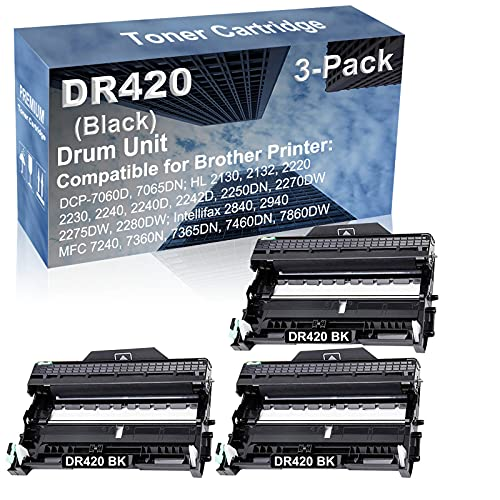 3-Pack Compatible Drum Unit (Black) Replacement for Brother DR420 DR-420 Drum Kit use for Brother Intellifax-2840, Intellifax-2940; MFC-7240, MFC-7360N, MFC-7365DN, MFC-7460DN, MFC-7860DW Printer