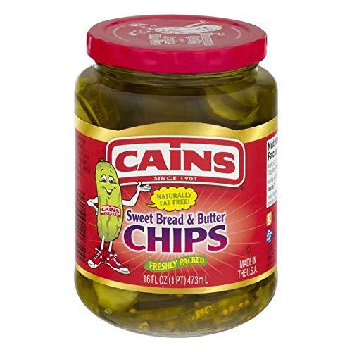 Cains Sweet Bread & Butter Pickle Chips, 16 Fl Oz Jar