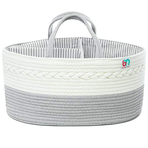 Babynma Rope Diaper Caddy - Extra Large Storage for Baby and Toddler Items - Portable Cotton Organizer Easily Holds Diapers, Wipes, Clothing, Burp Cloths, Toys, Bottles - Useful for Nursery, Bedroom, Living Room, Car - Baby Shower and Registry Gift - White and Grey