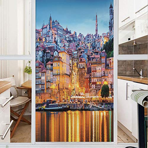 Decorative Window Film,No Glue Frosted Privacy Film,Stained Glass Door Film,Medieval Town Coast Portuguese Porto Old City Historical Twilight Scenery Decorative,for Home & Office,23.6In. by 78.7In Gin