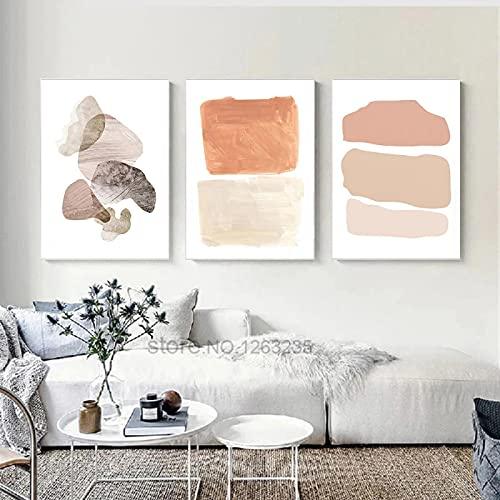 Lienzo abstracto Pintura Bloque de color Impresión de póster Carteles e impresiones minimalistas Imágenes de pared nórdica Decoración para sala de estar 40x50cm (16x20in) x3 Sin marco