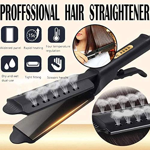 FOXSMZZ Hair Iron, Ceramic Tourmaline Ionic Flat Iron Hair Straightener, Dual use Dry and Wet for Hair Care Adjustable Temperature, for All Hair Types