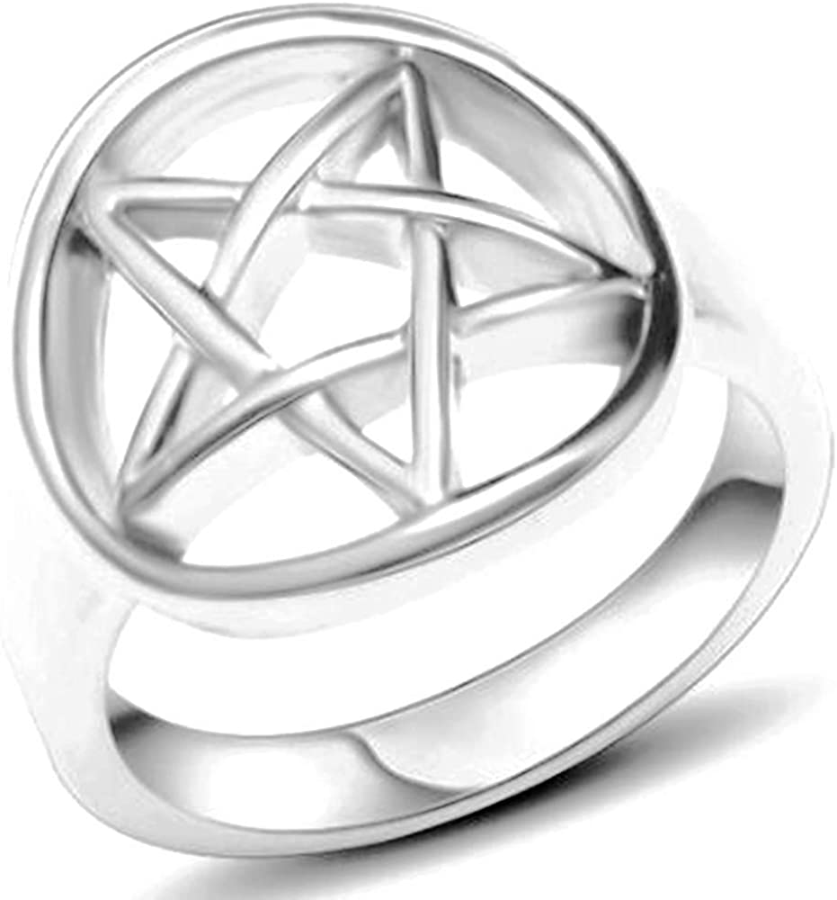 Stainless Steel Star Pattern Statement Cocktail Party Promise Anniversary Ring