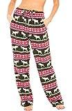 Alexander Del Rossa Women's Warm Fleece Pajama Pants, Long Lounge Bottoms, 3X Red Winter Moose (A0432V903X)