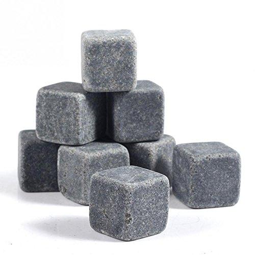 Q4 Piedras De Granito para Whisky. Cubos De Hielo Reutilizables Rocas De Hielo. Set De 9 con Bolsa.